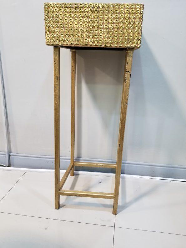 Gold Bling Planter Box Table/ Metal Leg - 53''