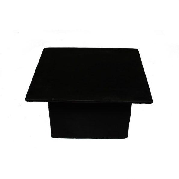 Black Leather Ottoman Table - Square