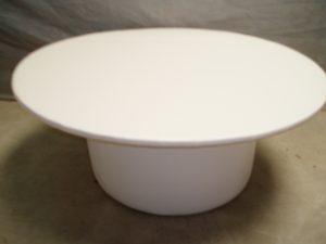 White Leather Ottoman Table - Round