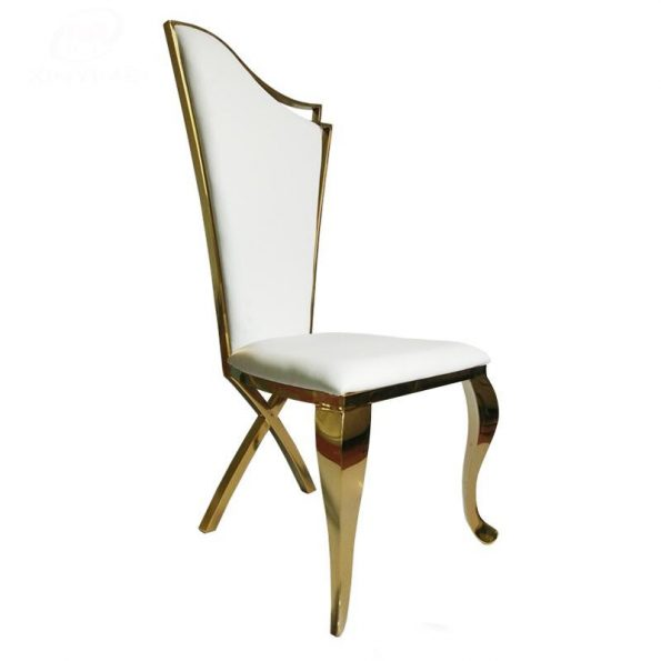 Luxury Gold Frame Stainless Steel Head Table White Padded Chair