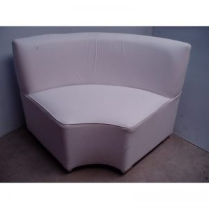 Curve Tufted White Leather Seater Small