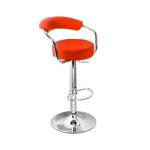 Chrome Red Leather Stools / Arms