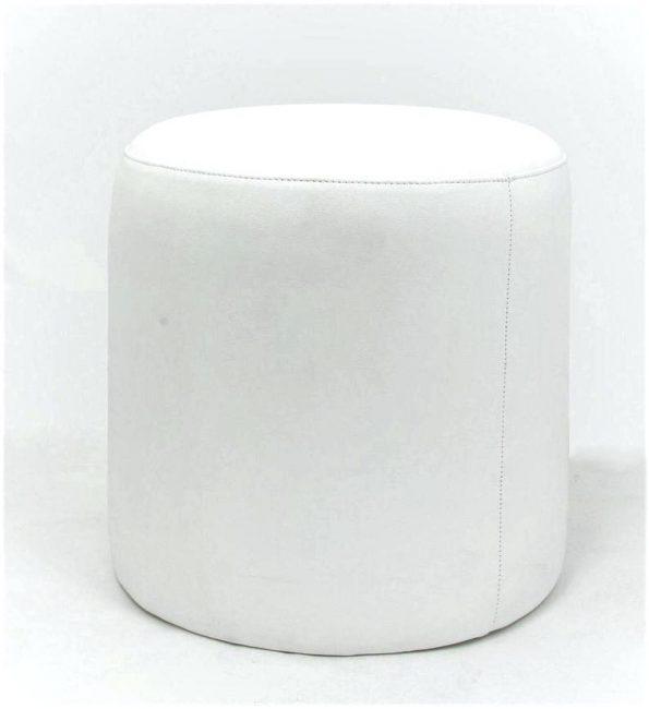 White - Round Leather Ottoman