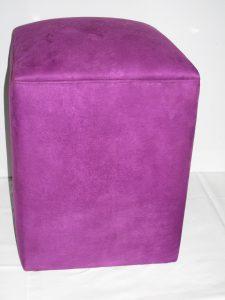 Purple Suede Round Ottoman High
