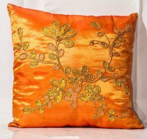 Orange WIth Sequin Gold  Cushoins