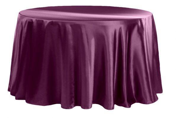 Plum  Satin Half-Moon Tablecloth