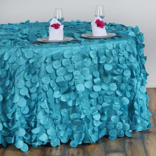 Teal Petal Circle Taffeta Round Tablecloth 120''