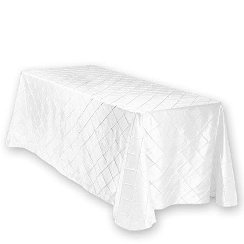 White Pintuck 90x132 Tablecloth