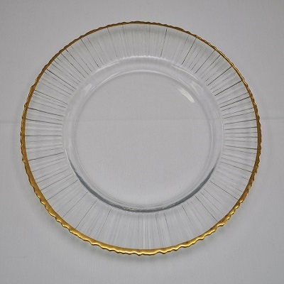 Gold Rim Clear Glass Charger w/Lines