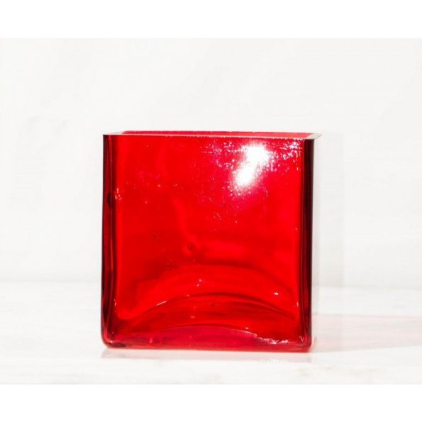"""5"""" Square Red Candle Holder"""
